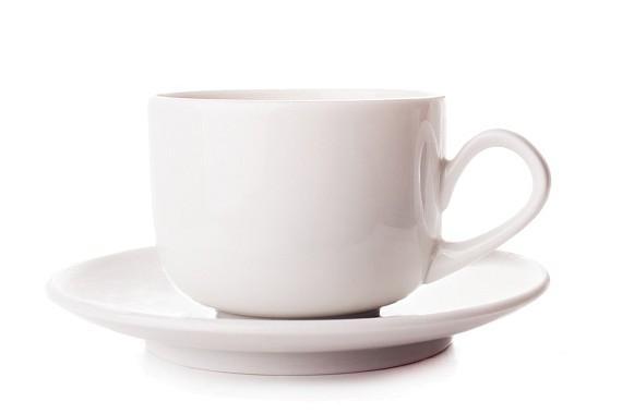 """Чашка с блюдцем """"Август"""". Белые"""