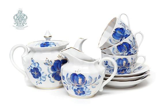 """Чайный сервиз """"Голубая магнолия Источник"""" (Франц Гарднер)"""