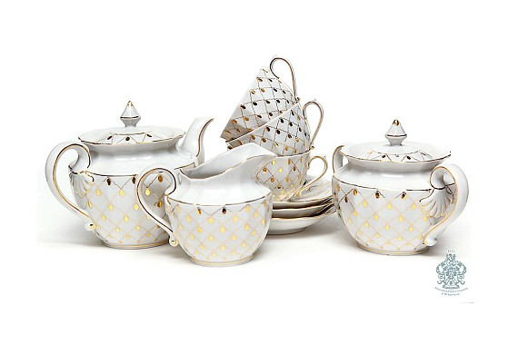 "Tea set ""Golden veil""."