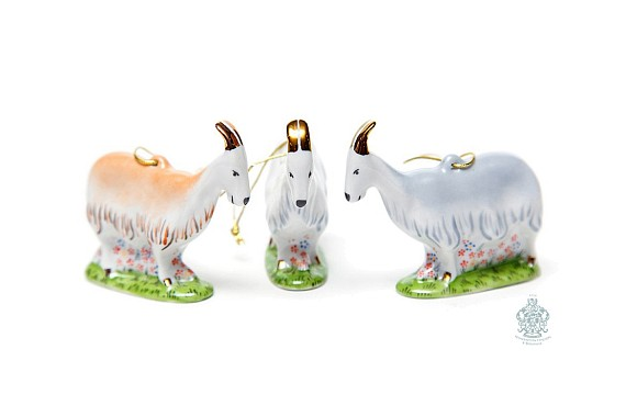 "Set of Christmas ornaments ""Goats"""