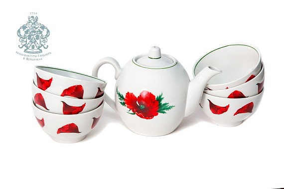 "Tea set ""Poppies color""."