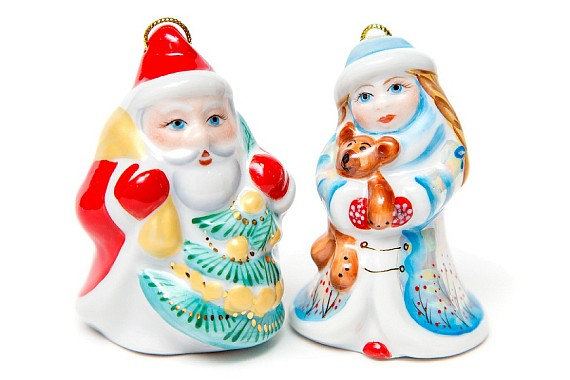 """Set of Christmas tree decorations """"Santa Claus and Snow Maiden"""""""