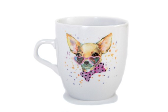 "Mug 270 ml. Tulip shape ""Watercolor dogs"""