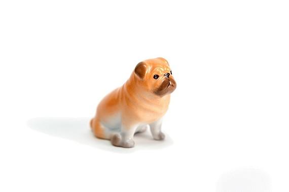 "Скульптура ""Собачка рыжий мопс"""