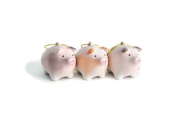 "Set of Christmas tree decorations ""Piglets"""