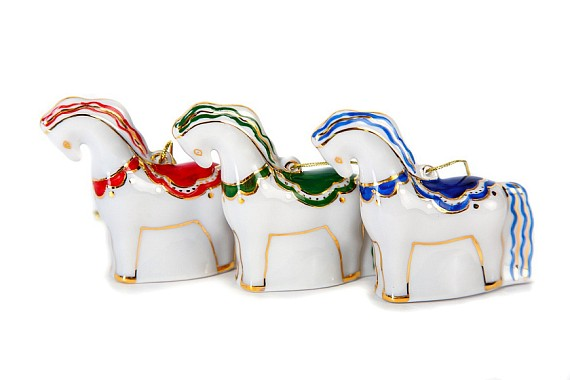 "Set of Christmas tree decorations ""Horses"""