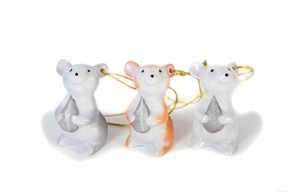 "Set of Christmas tree decorations ""Mouse"""