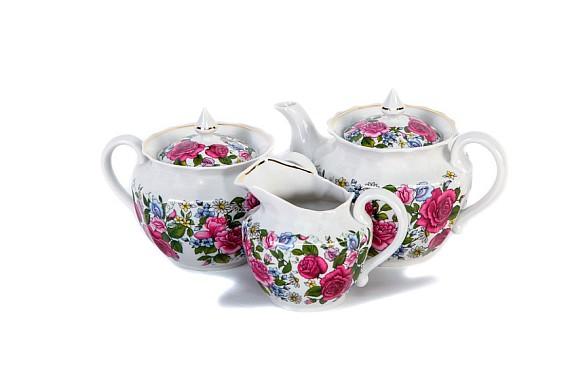 """Чайный сервиз """"Роза с ромашкой"""""""