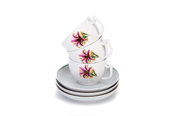 """Чайный сервиз  """"Розовая лилия"""""""