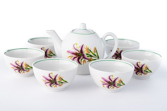 Набор чайный с пиалами Розовая лилия