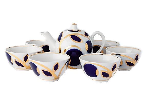 "Tea set  ""Cobalt apples"""