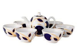 "Tea set  ""Cobalt apples"""