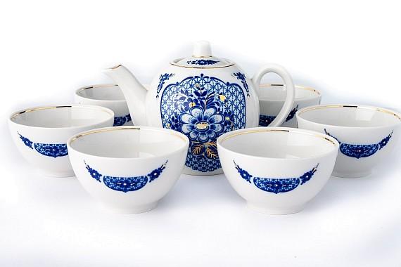 Набор чайный с пиалами п/7  Кобальтовая сетка