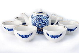 "Tea set with bowls ""Cobalt net"""