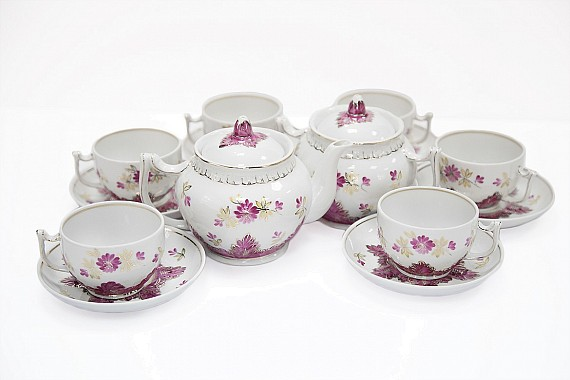 "Tea set for 6 people with 14 items ""Barberry purple"""