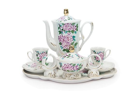 Coffee set  2/9, Hyacinth decor (hand painting)