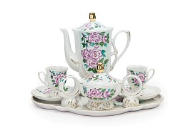 Coffee set  2/9, Hyacinth decor (hand painting)