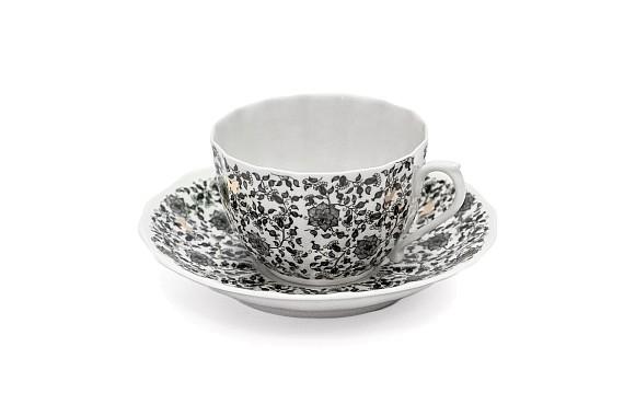 "Чайная пара ""Кружева и бабочки"", форма Ампир, декор (деколь)"