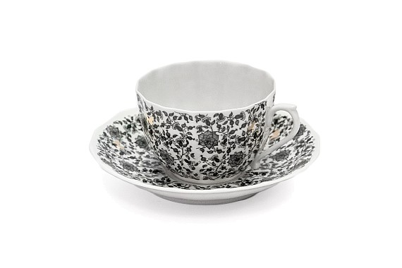 """Tea pair """"Lace and butterflies"""", Empire style, decor (decal)"""