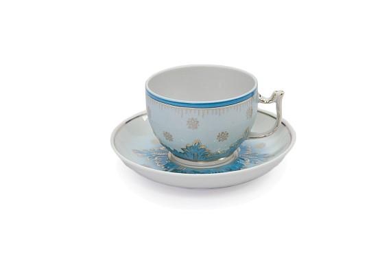 Чайная пара ф Севрская Опаловая, обьем 200 мл., декор- ручная роспись