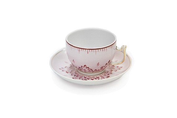 Tea pair Sevra Ruby shape, 200 ml., Decor - hand-painted