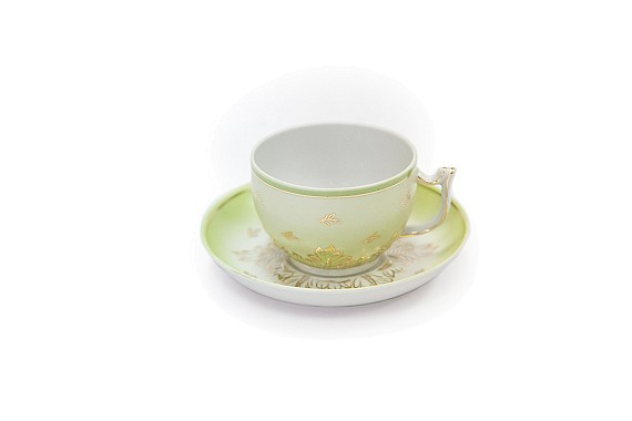Tea pair shape Sevres Emerald, volume 200 ml., Decor - hand-painted