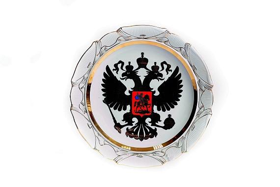 Блюдо настенное Герб платиновый