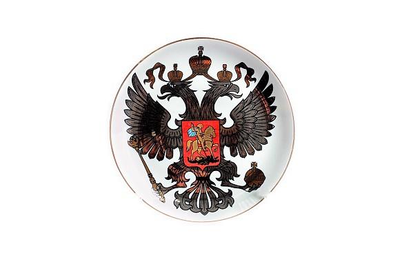 Тарелка настенная Герб платиновый