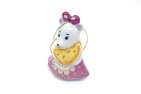 Елочная игрушка Мышка с сыром