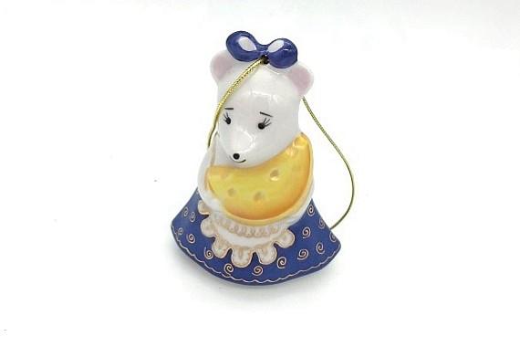 """Новогодняя игрушка """"Мышка с сыром"""""""