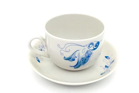Чашка с блюдцем 300 Голубой цветок