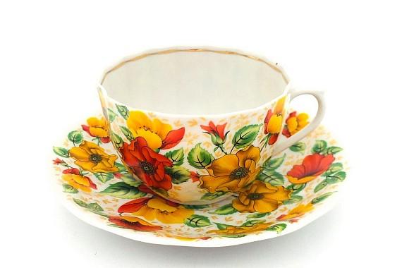 Чашка с блюдцем  200 ф75 Оранжевое лето