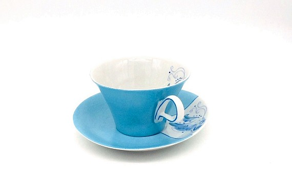 "Чайная пара "" Голубой цветок"""