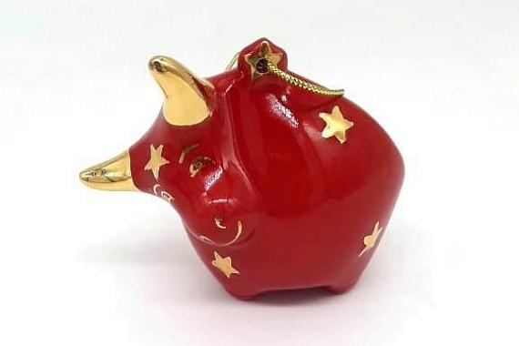 Елочная игрушка Бычок красный