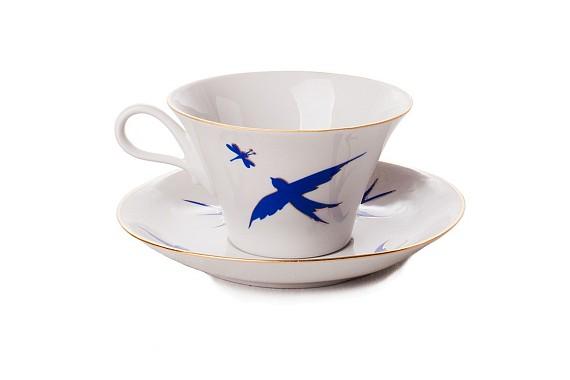 """Tea pair """"The breath of summer. Swallows""""."""
