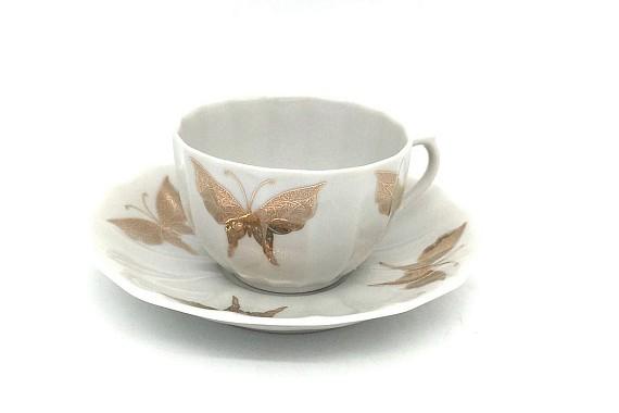Чашка с блюдцем 200 ф75 Золотые бабочки